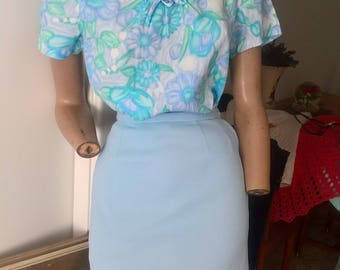 50s 60s  high waisted crimpelene pencil mini skirt size 4-6