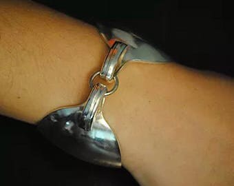 Silver Bracelet , Spoon Bracelet, Spoon Jewelry, Vintage Jewelry, Antique Spoon Bracelet