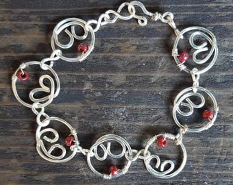 Heart Chain Link Silver Bracelet with Red Picasso Finished Czech Glass Beads, Wire Wrapped Bracelet, Red Beaded Silver Chain Link Bracelet