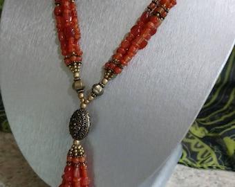Carnelian Tassel Necklace