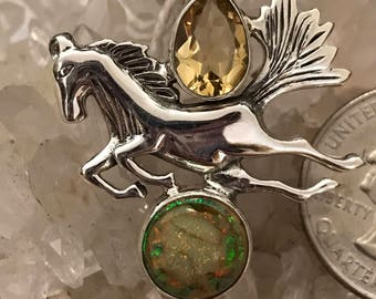 Beautiful Opal and Citrine Horse Pendant Necklace