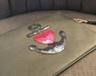 Black Clutch Bag with Anchor & Heart Embellishment