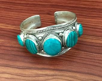 Vintage Turquoise Malachite Fivestone Cuff Bracelet