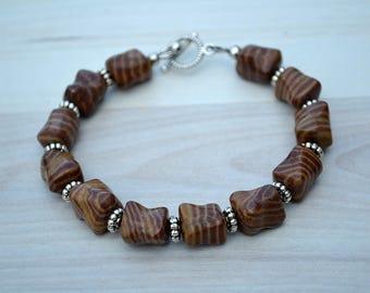 Brown jasper bracelet, Jasper bracelet, Brown jasper jewelry, Beaded brown jasper bracelet, Genuine brown jasper bracelet, Brown jewelry.