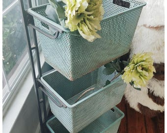 Vintage Storage Shelf, Shabby Chic Storage, Aqua Rusty Patina, Vintage Metal Baskets, Rustic Storage Cubby