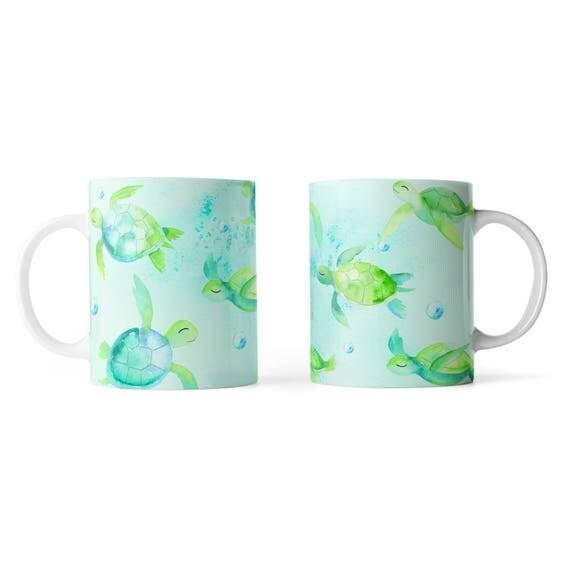 Cute turtles watercolor mug - Funny mug - Rude mug - Mug cup 4P104