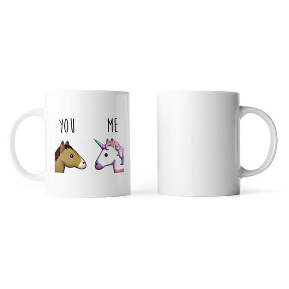 You and me unicorn and horse emoji mug - Funny mug - Rude mug - Mug cup 4P049