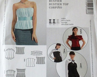 Burda Pattern, Burda7088, bustier top, lined bustier top, side zipper closure, sz: 6 thru 22