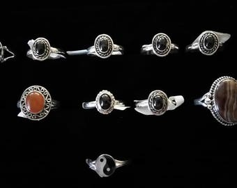 Sterling Silver Gemstone Rings Sizes 9, 10 & 11