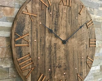 Wall clock - large clock - rustic clock - unique clock - barrel clock - whisky clock - Scotch whisky - 5th anniversary - whisky gift