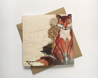 Printed Embroidery Fox Card