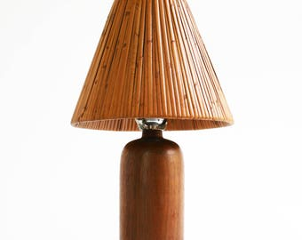 Danish Modern Teak Wood Table Lamp Mid Century