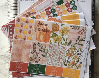 Final Sale | Autumn Leaves - DELUXE Weekly Sticker Kit, Planner Stickers, No White Space Planner Sticker Kit, for use with EC LIFEPLANNER™
