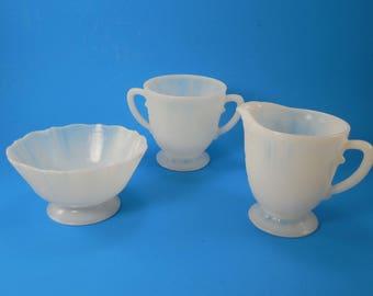 Vintage American Sweetheart Monax White Opalescence Milk Glass Sugar Creamer Pitcher And Bowl Three 3 Piece Set MacBeth Evans Glass 1930s