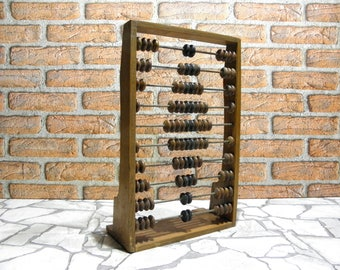 Large Wooden Abacus Vintage, Retro Wooden Abacus, Wooden Calculator School, Primitive Calculator Computer, Gift for Children, BalMinDi