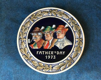 Vintage 1973 German Father's Day Plate, Schmid Dseigns, Bavarian Plate