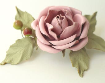 Leather Pink Rose Flower Hair clip, Flower Clip, barrette,Womens gift, leather flower, for her,  Mothers Day gift