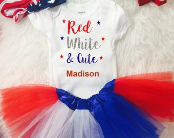 Toddler Girl's 4th of July Outfit Red White And Cute Independence Day Fourth July tutu - FREE PERSONALIZATION