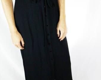 Black Vintage Button-up Slit Skirt