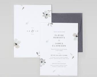 Grey Wedding Invitation, Floral Wedding Invitation, Watercolour Wedding Invitation, Minimal Wedding Invitation, Modern Invitation - SAMPLE