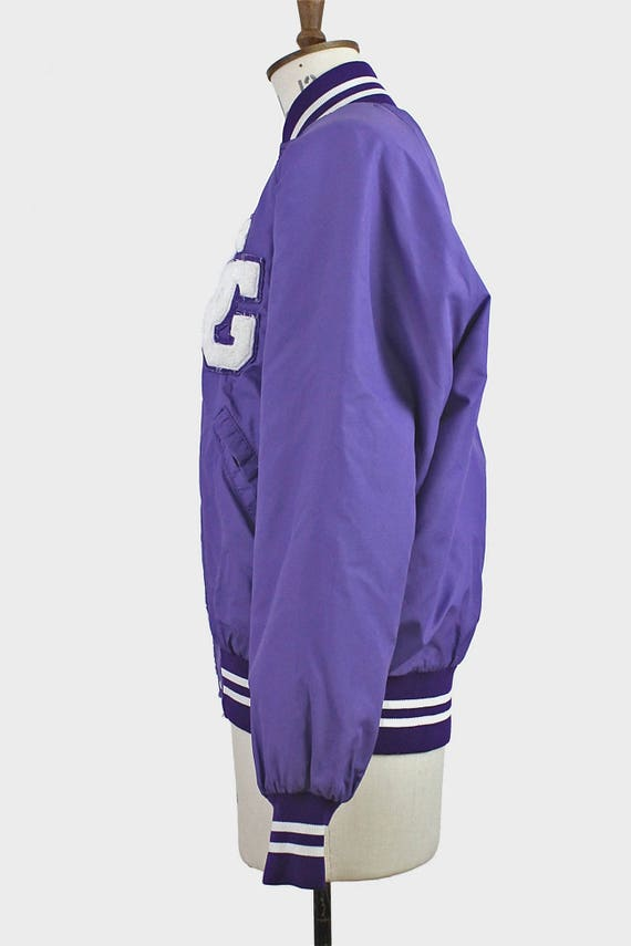 vintage purple satin baseball jacket. bright bold purple white