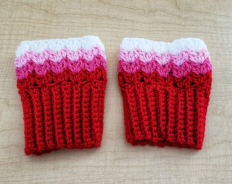 Boot Toppers - Crochet Boot Cuffs - Valentine Boot Cuffs - Crochet Boot Toppers - Boot Leg Warmers - Winter Boot Cuffs - Warm Boot Cuffs
