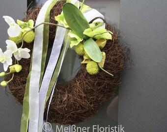 """Door wreath """"white Orchid"""""""