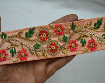 Peach Indian Laces and Trims Saree Border Fabric Trim By The Yard Embroidered Wholesale Trimmings Ribbon Indian Sari Border gold indian trim