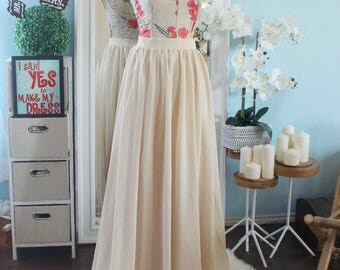 Champagne bubble hem chiffon skirt / floor length skirt / beige maxi chiffon skirt / full length bubble skirt / bubble hem chiffon skirt /
