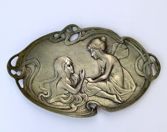 Antique Art Nouveau Thick Tray Butterfly Girl speaking mermaid copper and silver,Art Nouveau tray,Mermaid Tray,Butterfly girl Tray