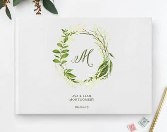 Rustic Floral Wedding Guest Book, Wreath Wedding Guest Book, Monogram Wedding Guest Book, Initial Wedding Guest Book, Rustic Guestbook, 29