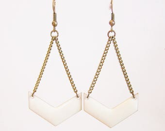 White enameled chevron earrings