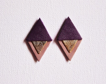 Diamond leather tri-color purple, gold and purple earrings