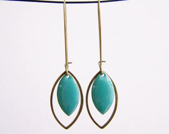 Turquoise blue sequin and brass earrings