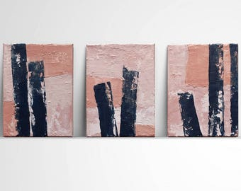 Set of 3, textured, contemporary art, modern art, unique wall art , abstract painting, navy blue and peach, pink, blue, palette knife