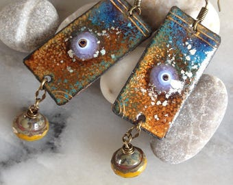 Earrings Bohemian, hippie-chic, copper, blue enamel, gold, ochre saffron Czech beads.