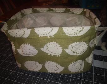 Hedgehog print Linen Storage Basket