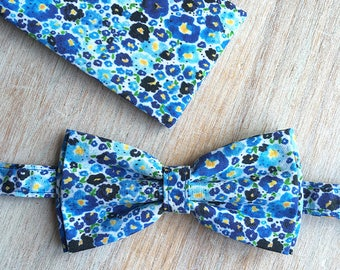 Bow tie + Pocket - Blue Flowers