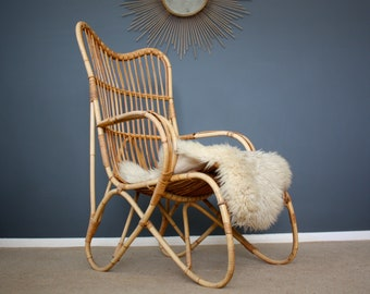 Stunning Vintage Bamboo Lounge Chair Boho Retro Mid Century 50s 60s 70s