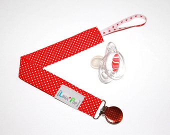 Pacifier clip / pacifier dots & Red Ribbon - banner clip - cotton fabric