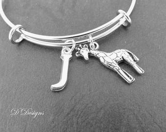 Giraffe Bangle, Giraffe Bracelet, Personalised Bangle, Animal Bangle, Personalised Giraffe Gifts, Giraffe Jewellery, Giraffe Gifts