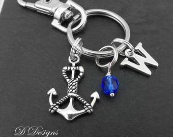 Anchor Bag Charm, Anchor KeyRing, Anchor KeyChain, Nortical Gifts, Nortical Clip Keyring, Sailer Key Chain, Personalised Anchor Gifts