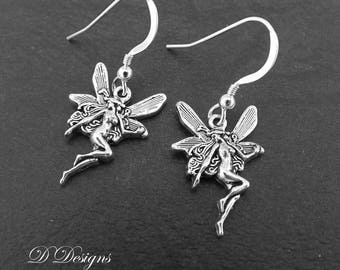 Fairy Earrings, Fairy Gifts, Fairy Jewelry, Silver Earrings, Fairy Charm Earrings, Novelty Earrings, Funky Earrings, Gifts for Her,