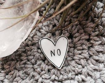NO heart  pin shrinky dink handmade