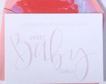 Baby Girl Card, New Baby Girl, Baby Boy, New Baby Card, Congratulations Card, Newborn, It's a Girl