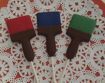 PAINT BRUSH CHOCOLATE Lollipops (12qty)Paint Party Favors/Artist Party/New House Favors/Construction Party/Housewarming Favor/Birthday Party