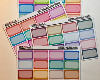 Multi Color Seasonal Half Boxes Stickers for use with Erin Condren Life Planner and other planners