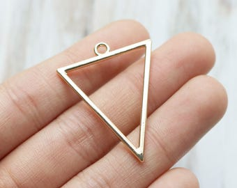 set of 10, gold triangle charms, large triangle, big triangle, earring charms, bold charms, wholesale charms, silver charms, metal charms,