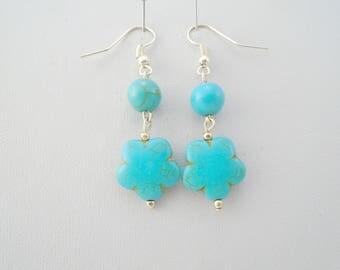 Turquoise Earrings, Boho earrings, turquoise silver earrings, bohemian earrings, turquoise jewelry, december birthstone, flower earrings