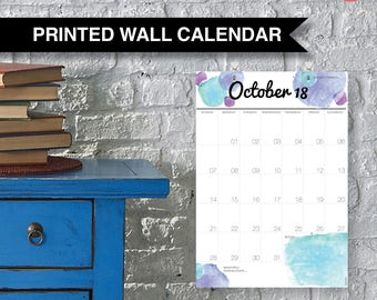 Wall Family Calendar 2018. Large A3 yearly wall planner, 12 months from Jan 18 to Dec 18 - free hooks. Sunday start. Hanging Calendar | 900
